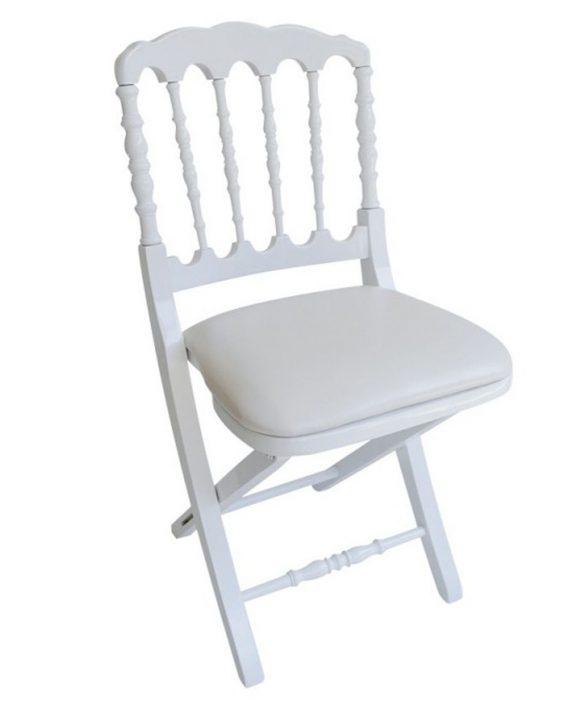 Chaise napol on pliante bois vente de mobilier de r ception for Chaise blanche confortable